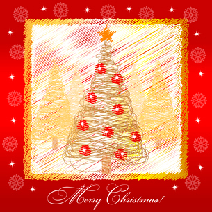 Christmas card illustration with golden christmas treeのイラスト素材 [FYI03079966]