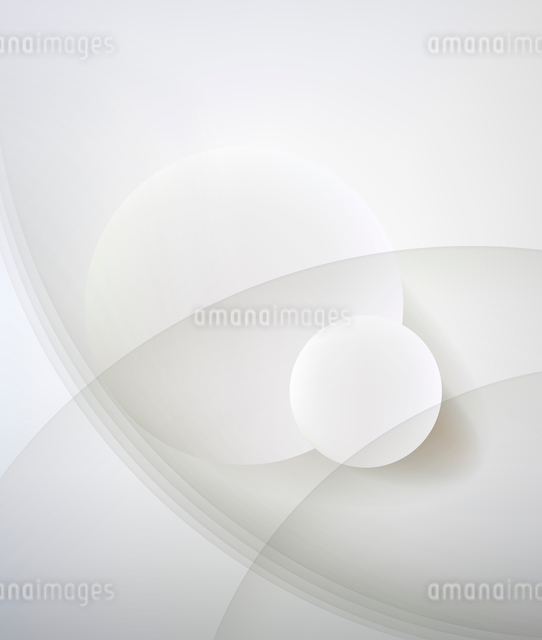 Abstract minimalist design in a light tone. Two circle.のイラスト素材 [FYI03080107]