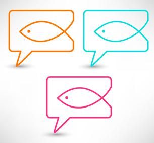 Christian religion symbol fish. Concept speech bubblesのイラスト素材 [FYI03080192]