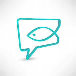 Christian religion symbol fish. Concept speech bubblesのイラスト素材 [FYI03080194]