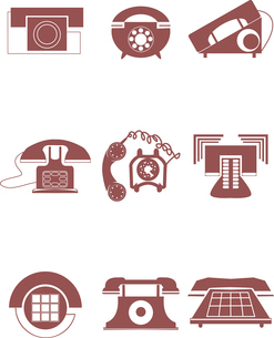 old phone iconsのイラスト素材 [FYI03080341]