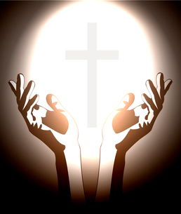 hand and christian cross silhouetteのイラスト素材 [FYI03080415]