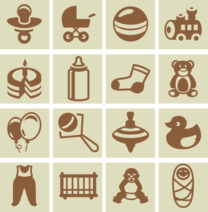 Vector design elements for children and kids - collection of iconsのイラスト素材 [FYI03080499]