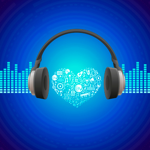 Vector music concept - abstract background with headphones iconのイラスト素材 [FYI03080505]
