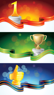 vector set with winner banners - with golden prizesのイラスト素材 [FYI03080520]