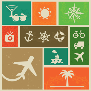 Vector vintage labels with travel signs and symbols - retro design elementsのイラスト素材 [FYI03080526]