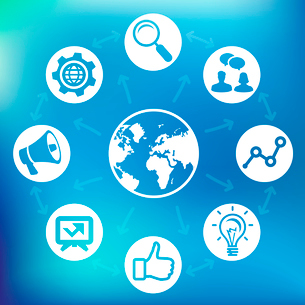 Vector internet marketing concept - globe icon and social media signsのイラスト素材 [FYI03080529]