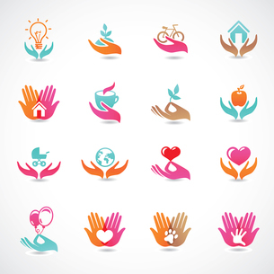 Vector set with signs of love and care - collection with abstract iconsのイラスト素材 [FYI03080533]