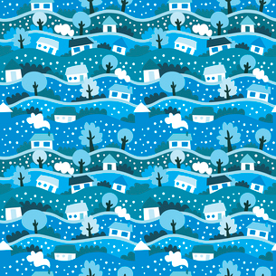 vector seamless pattern with winter villageのイラスト素材 [FYI03080571]
