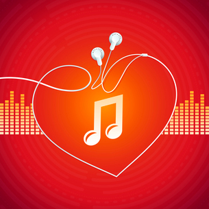 Vector music concept - abstract background with headphones iconのイラスト素材 [FYI03080588]