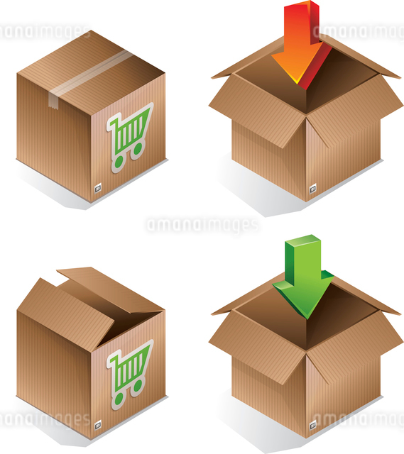 Vector icon of shipping box - internet conceptのイラスト素材 [FYI03080592]