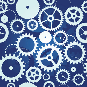 blue seamless pattern with cogs and gears - vector illustrationのイラスト素材 [FYI03080598]