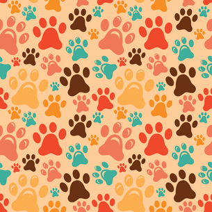 Vector seamless pattern with animal paws - cartoon backgroundのイラスト素材 [FYI03080606]