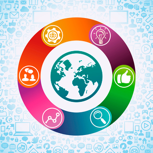 Vector internet marketing concept - globe icon and social media signsのイラスト素材 [FYI03080612]