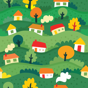 seamless pattern with village and houses - vector illustrationのイラスト素材 [FYI03080616]