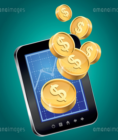 Vector concept - mobile phone and gold coins - financial statisticsのイラスト素材 [FYI03080661]