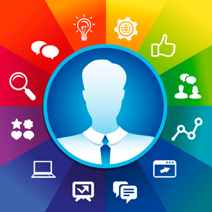 Vector businessman avatar in circle frame and social media icons - internet marketing conceptのイラスト素材 [FYI03080701]