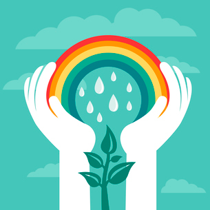 Vector creative concept with rainbow and human hands - abstract growth conceptのイラスト素材 [FYI03080702]
