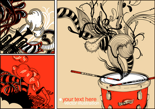 vector set of 3 hand drawn cards with a red drum, trumpets and abstract plantsのイラスト素材 [FYI03080821]