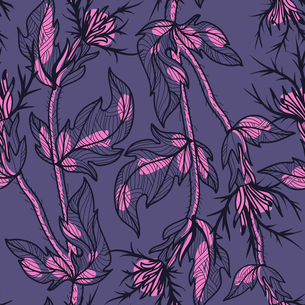 vector floral seamless pattern with violet thistleのイラスト素材 [FYI03080837]