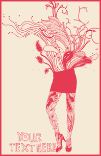 vector illustration of an abstract floral girl in a short red skirtのイラスト素材 [FYI03080891]