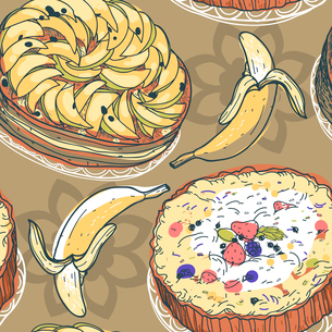 vector seamless pattern with pies and bananasのイラスト素材 [FYI03080897]