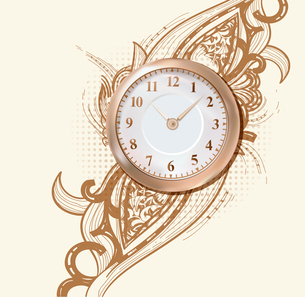 vector illustration of an ancient golden clock on an abstract background with a rich ornamentのイラスト素材 [FYI03080902]