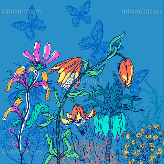 vector illustration of blooming flowers on a dark blue backgroundのイラスト素材 [FYI03080962]