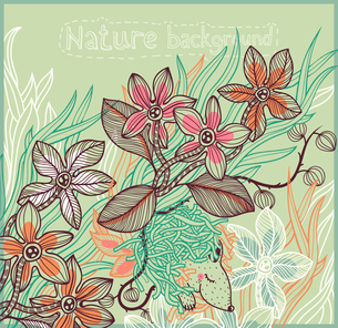 vector floral background with fantasy plants and a cute sleeping animalのイラスト素材 [FYI03080997]