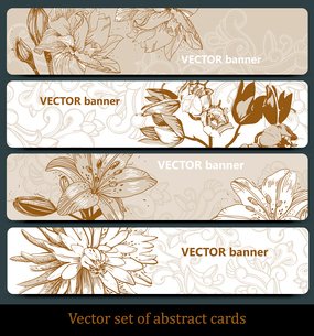 vector set of floral banners in a beige paletteのイラスト素材 [FYI03081008]