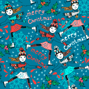 Christmas vector seamless pattern with skating girlsのイラスト素材 [FYI03081041]