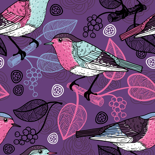 vector floral  seamless  pattern with birds and berries on a violet backgroundのイラスト素材 [FYI03081054]