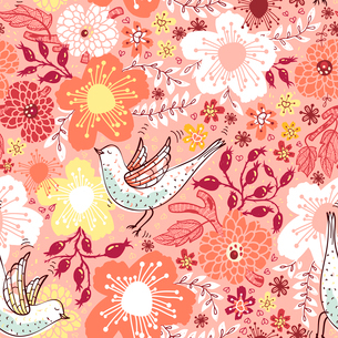 vector floral  seamless pattern with blooming flowers and flying birdsのイラスト素材 [FYI03081086]