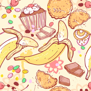 vector  seamless pattern with candies,bananas and chocolateのイラスト素材 [FYI03081125]