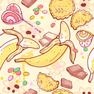 vector  seamless pattern with sweets and fruitsのイラスト素材 [FYI03081137]