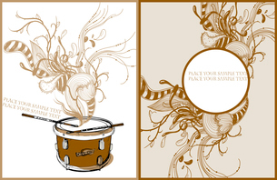 vector set of 2 music cards with a drum and abstract plantsのイラスト素材 [FYI03081149]
