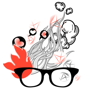 vector illustration of old-fashioned glasses on an abstract background with cartoon fireのイラスト素材 [FYI03081150]