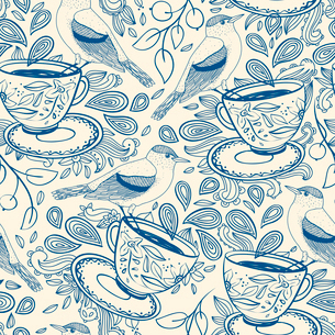 vector  pattern with cups of tea, birds and berriesのイラスト素材 [FYI03081167]