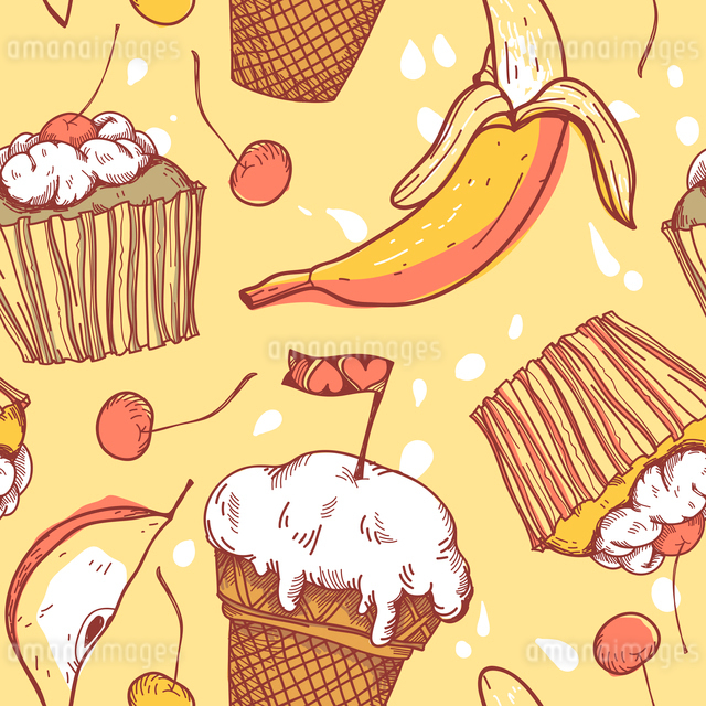 vector   seamless pattern with sweets and fruitsのイラスト素材 [FYI03081168]