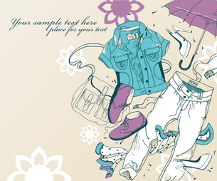 hand drawn set of trendy clothes , shoes and accesoriesのイラスト素材 [FYI03081192]