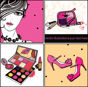 vector set of colorful cards with a fashion girl ,smart shoes and colorful eyeshadowのイラスト素材 [FYI03081211]