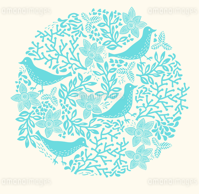 vector illustration of an abstract floral circle with blue birds and plantsのイラスト素材 [FYI03081234]