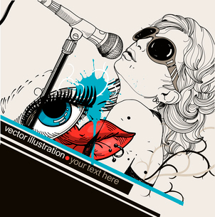 vector illustration of a singer , abstract lips and blue eyeのイラスト素材 [FYI03081250]