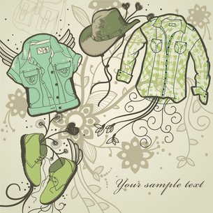 fantasy look with trendy clothes, boots and a cowboy hat on a floral backgroundのイラスト素材 [FYI03081252]