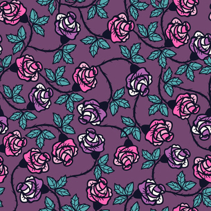 vector floral seamless pattern with vintage roses on a violet backgroundのイラスト素材 [FYI03081284]
