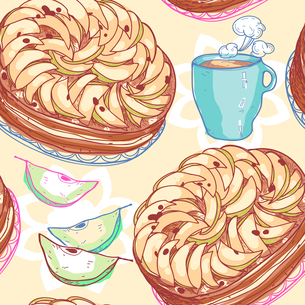 vector seamless  pattern with pies, apples and cups of teaのイラスト素材 [FYI03081297]