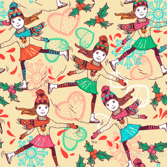 Christmas vector seamless pattern with pretty skatersのイラスト素材 [FYI03081423]