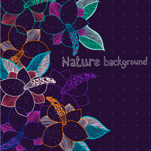 vector floral background with colorful flowers on a dark violet backgroundのイラスト素材 [FYI03081426]