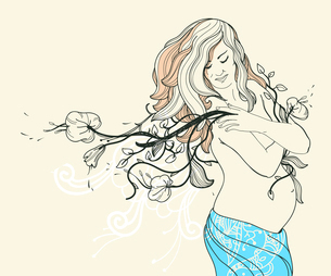 vector illustration with a beautiful  pregnant woman and fantasy flowersのイラスト素材 [FYI03081433]