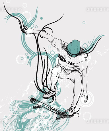 vector illustration of an active boy jumping on a skateboardのイラスト素材 [FYI03081436]